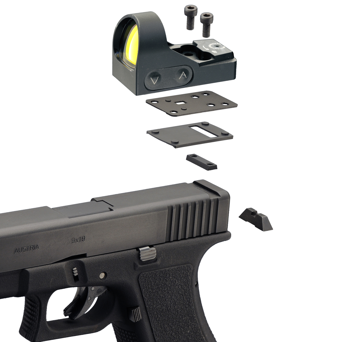 Delta Pistol mount for HD 24, HD 26 to Glock 9 Reddot Pistol Foot