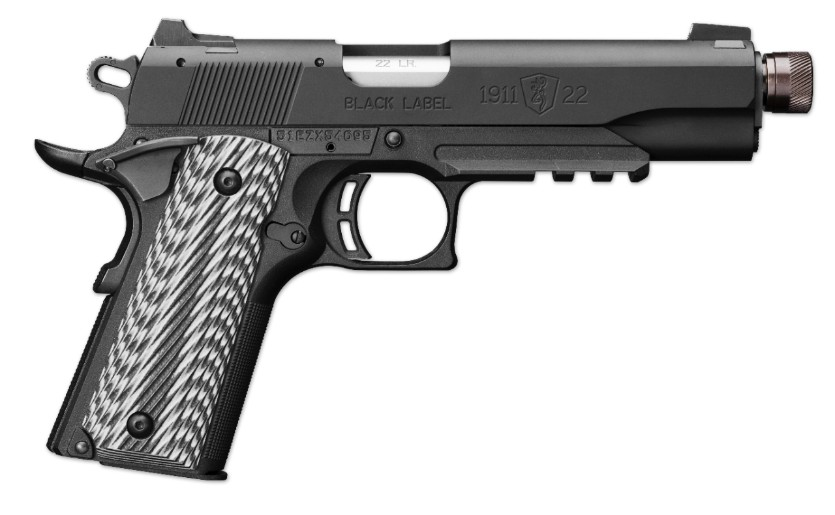 Browning 1911-22 Black Label Full Size Suppressor Ready with Rail.