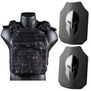 AR550 LEVEL III+ BODY ARMOR CERTIFIED PLATES AND SPARTAN CYCLONE LIGHT WEIGHT SENTRY PLATE CARRIER PACKAGE
