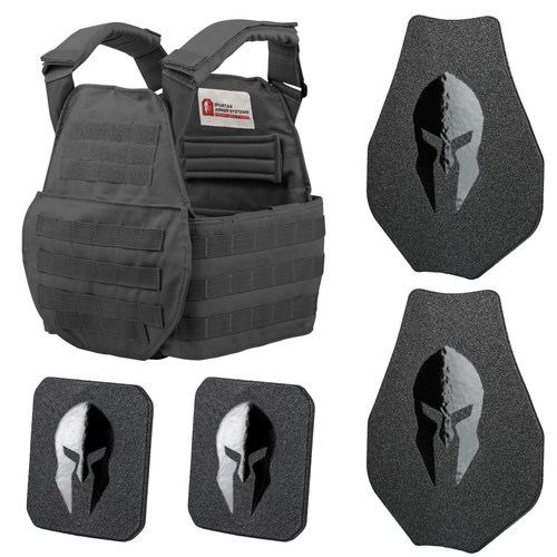 AR550 BODY ARMOR SWIMMERS CUT AND SPARTAN PLATE CARRIER ENTRY LEVEL PACKAGE