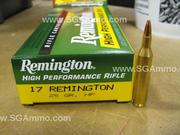 20 Round box - 17 Remington 25 Grain Hollow Point Remington High Performance Rifle Ammo - R17R2