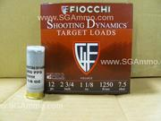 25 Round Box - 12 Gauge Target Load Number 7.5 size shot - 1.125 OZ - 1250 FPS by Fiocchi - 12SD18X7